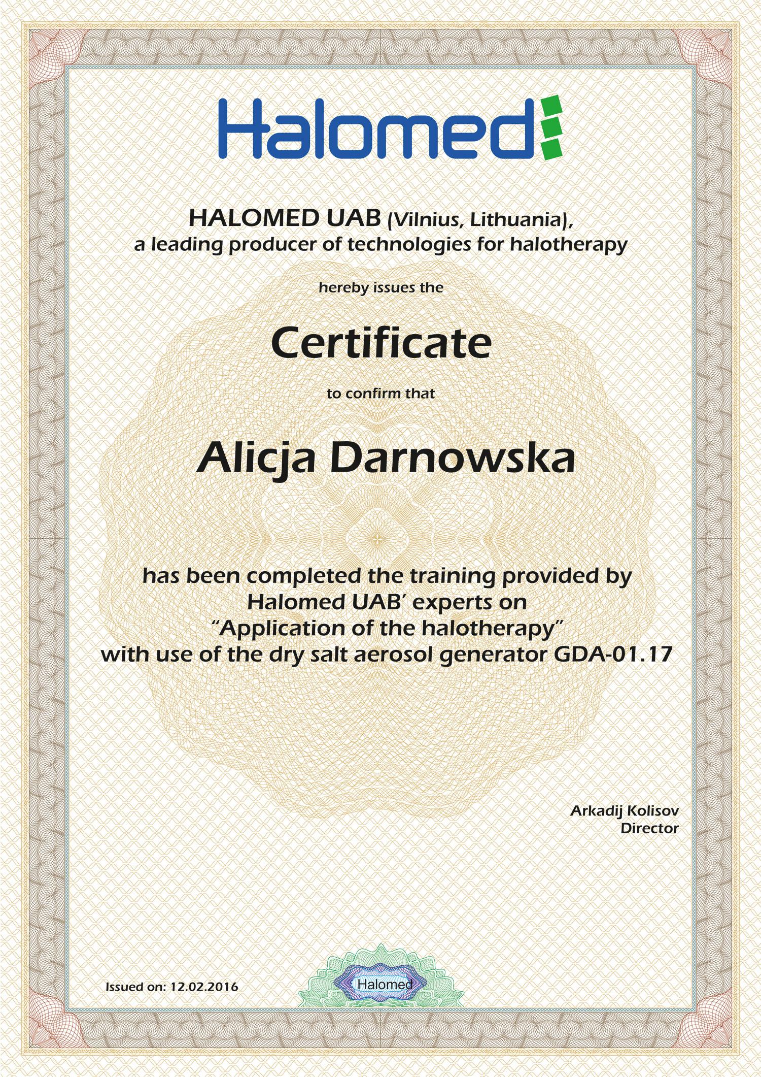 Certyfikat Alicja Darnowska