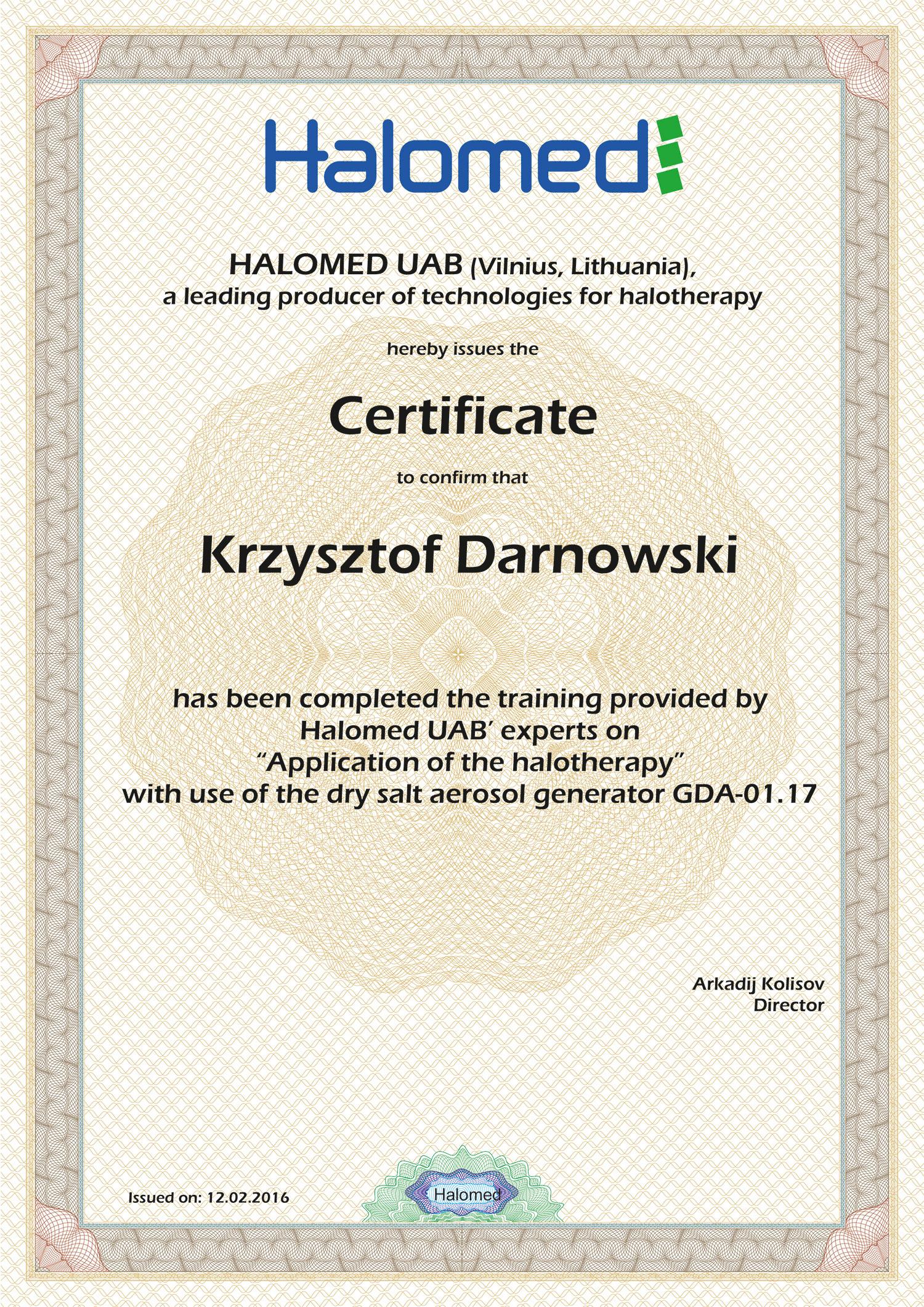 Certyfikat Krzysztof Darnowski